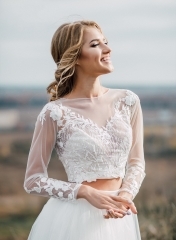 Ivory Lace Lace Wedding Top 2 Pieces Bridal Dress