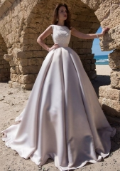 Lavender Short Train Wedding Dress Bridal Gown