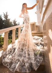 Ivory Lace Tulle Mermaid Wedding Dress Bridal Gown