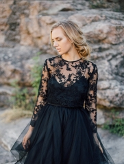 Black Lace Wedding Top Women