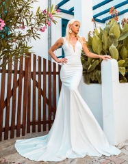 Ivory Satin Mermaid Wedding Dress Bridal Gown