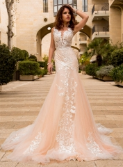 Ivory Lace Chamapgne Tulle Wedding Dress Bridal Gown