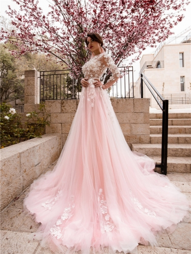 Ivory  Lace Pink Tulle Long Train Wedding Dress Bridal Gown