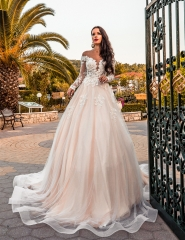 Ivory Lace Tulle Long Train Wedding Dress Bridal Gown