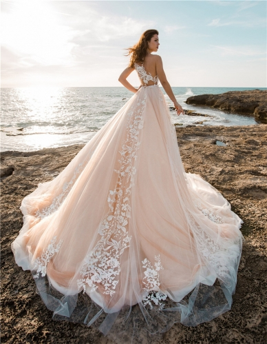 Lace Tulle Long Train Wedding Dress Bridal Gown