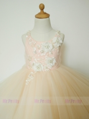 Chamapgne Lace Tulle Luxury Flower Girl Dress Pageant Dress