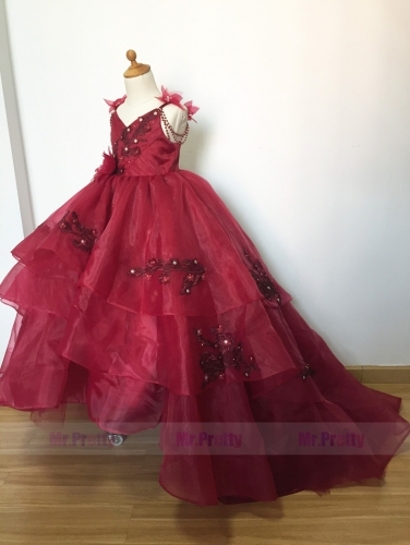 Free Shipping Burgundy  Luxury Girls Christmas Holiday Dress