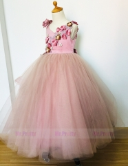 Free Shipping Mauve Luxury Flower Girl Dress Christmas Dress