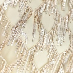 Chamapgne Sequin Embroidery Lace Wedding Lace Fabric