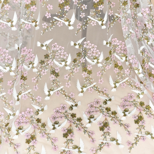 Pink Embroidery Lace Wedding Lace Fabric