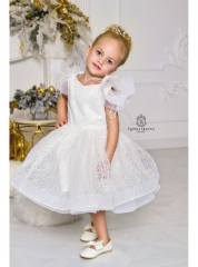 Ivory Lace Tulle Tea Length Flower Girl Dress Pageant Dress