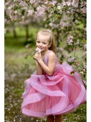 Purple Lace Tulle Knee Length Flower Girl Dress Pageant Dress
