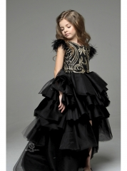 Black Lace Tulle High Low Flower Girl Dress Pageant Dress
