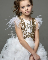 Ivory Lace Tulle High Low Flower Girl Dress Pageant Dress
