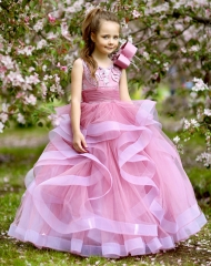 Mauve Lace Tulle Full Length Flower Girl Dress Pageant Dress