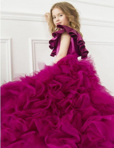 Purple Satin Tulle High Low Flower Girl Dress Pageant Dress