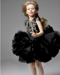 Black Lace Tulle Knee Length Flower Girl Dress Pageant Dress