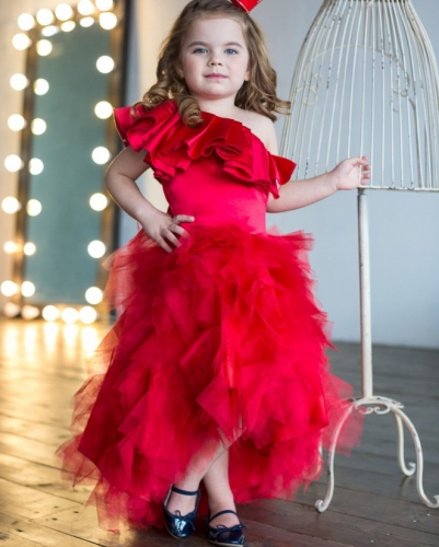 One Shoulder Red Satin Tulle High Low Flower Girl Dress Pageant Dress