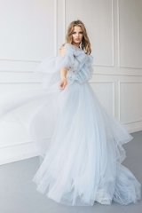 Grey Blue Tulle Wedding Dress Bridal Gown