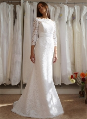 Ivory Lace Short Train Wedding Dress Bridal Gown