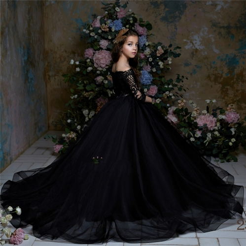 Free Shipping  Black Lace Tulle Little Girls Pageant Dress