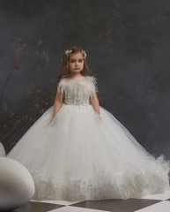 Ivory  Lace Tulle Short Train  Little Girls Pageant Dress Free Shipping