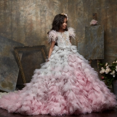 Lace Tulle Puffy  Little Girls Pageant Dress Free Shipping
