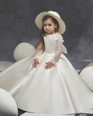 Ivory Champagne Lace Satin Long Sleeve Little Girls Pageant Dress Free Shipping