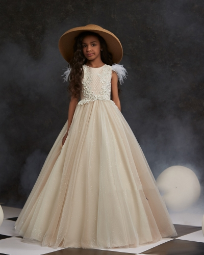Champagne Lace Satin  Little Girls Pageant Dress Free Shipping