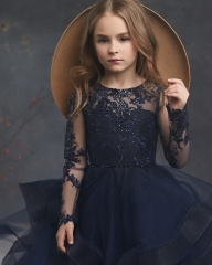 Free Shipping Navy Blue  Long Sleeve  Lace Satin Little Girls Pageant Dress