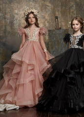 Black/Mauve  Lace Tulle  Little Girls Pageant Dress Free Shipping