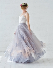 Dusty Blue Tulle Wedding Skirt 2 Pieces Wedding Dress