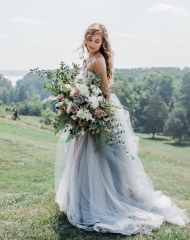 Dusty Blue Tulle Short Train Wedding Lace Up Wedding Dress