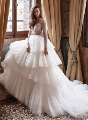 Ivory Beaded Lace Tulle Long Train Wedding Lace Up Wedding Dress