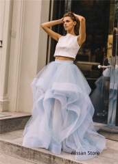 Light Blue Tulle Wedding Skirt 2 Pieces Wedding Dress