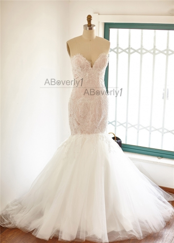 Light Champagne Lace Tulle Mermaid Wedding Dress