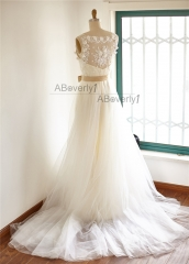 Ivory Lace Tulle Wedding Dress