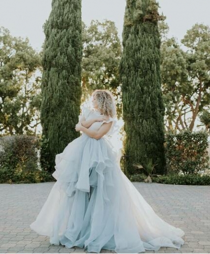 Light Blue Organza Wedding Skirt  Bridal Skirt