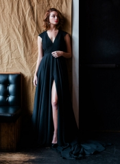 Black Chiffon Slit Sex Prom Dress Mother Dress