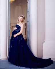 Royal Blue Sequin Tulle Sexy Prom Dress Pregnant Dress
