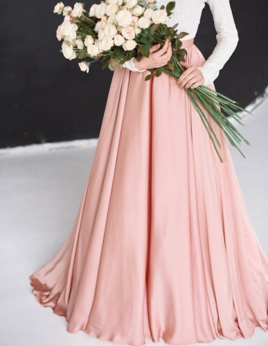 Peach Chiffon Tulle Full Skirt