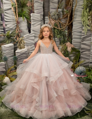 Blush Pink Beade Tulle Little Girls Pageant Dress Flower Girl Dress