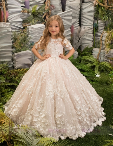 Ivory Lace Blush PInk Tulle Little Girls Pageant Dress Flower Girl Dress