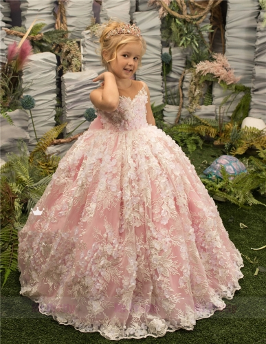 Pink Tulle Little Girls Pageant Dress Flower Girl Dress
