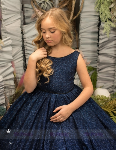 Navy Blue Sequin Big Bow  Little Girls Pageant Dress Flower Girl Dress