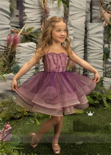 Purple Short Luxury Little Girls Pageant Dress Flower Girl Dress