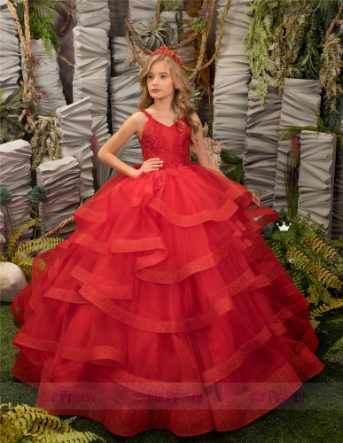 Red Lace Tulle Little Girls Pageant Dress Flower Girl Dress