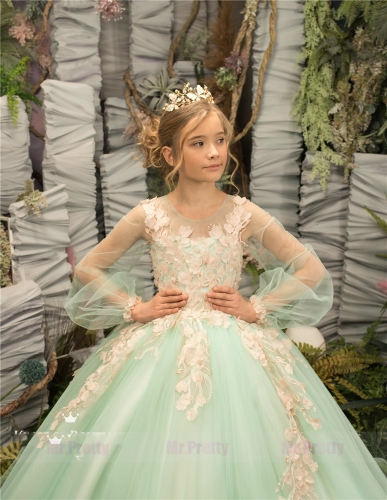 Mint Lace Tulle Little Girls Pageant Dress Flower Girl Dress