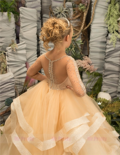 Long Sleeve Beaded Luxury Little Girls Pageant Dress Flower Girl Dress
