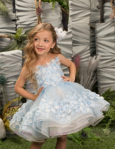 Short Luxury Little Girls Pageant Dress Flower Girl Dress